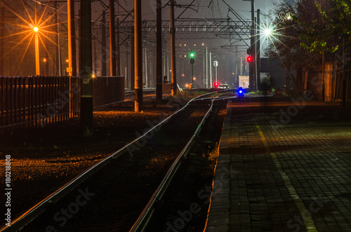 Railway station at night Poster