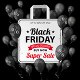 Black Friday Black Balloons Percents Shopping Bag