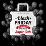 Black Friday Black Balloons Percents Shopping Bag