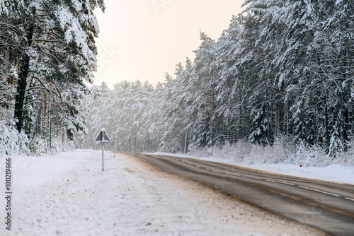 Fotobehang Grijs Winter forest and Auto road
