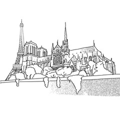 Notre Dame and Eiffel Tower travel scene