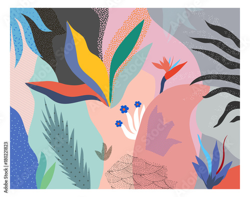 Creative universal floral header in tropical style. Modern graphic design. Hand Drawn textures. Ideal for web, card, poster, cover, invitation, brochure. Vector.  - 180221823