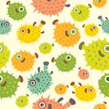 Seamless pattern with cartoon balloon fish.