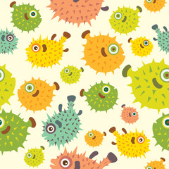 Seamless pattern with cartoon balloon fish.