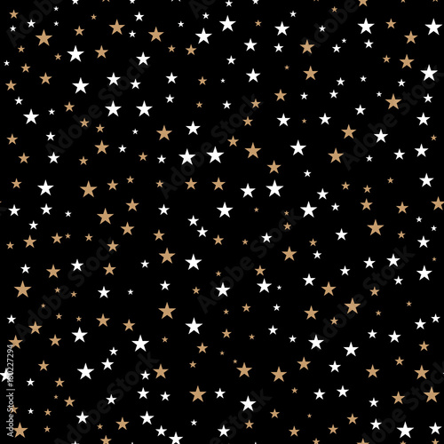 Cotton fabric Holiday background, seamless pattern with stars. Vector illustration.