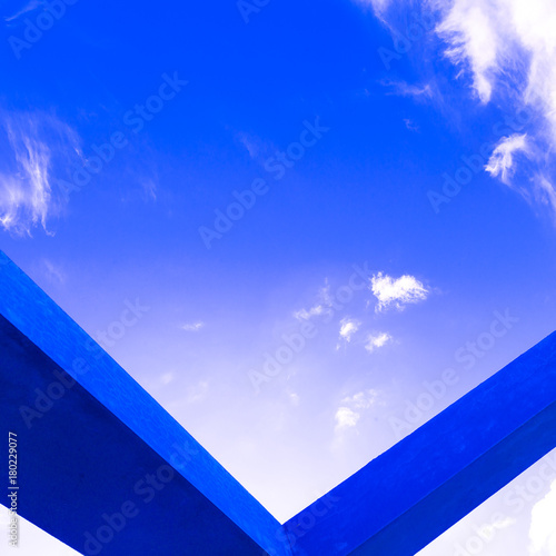 Papiers peints Bleu fonce Geometric object and blue sky. Modern minimal art