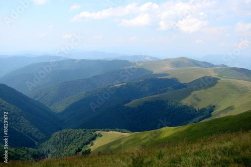 Poster Nachtblauw Carpathian mountain range Borzhava. Ukraine.