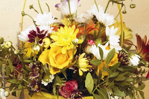 Fotobehang Gerbera basket of flowers.