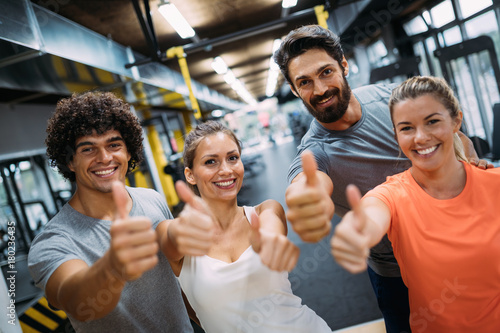 Portrait of cheerful fitness team in gym Poster