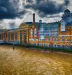 London ancient skyline along river Thames on a cloudy day