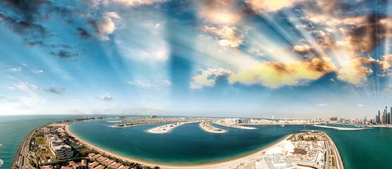 Dubai Palm Jumeirah Island, aerial panoramic view - UAE