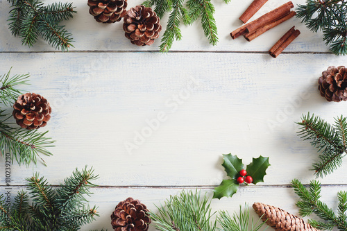 Poster Christmas background with Christmas decorations on wooden white table