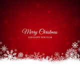 Fototapety Red Christmas background with snowflakes border