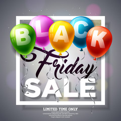 Black Friday Sale Vector Illustration with Shiny Balloons on Dark Background. Promotion Design Template for Banner or Poster.