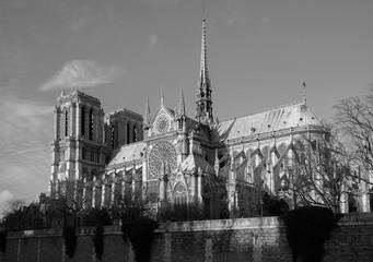 Paris, Vue sur Notre Dame en noir et blanc