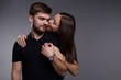 Happy couple background isolated