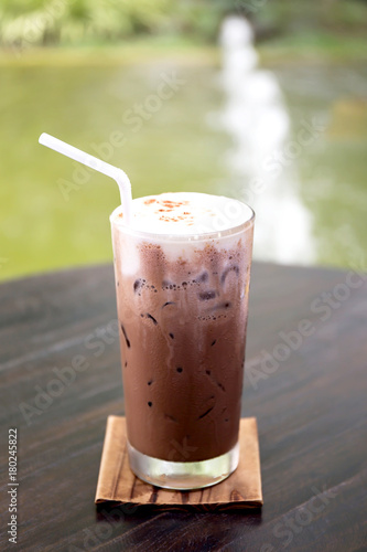 Foto op Aluminium Milkshake Iced chocolate on table