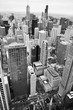 Urban city architecture background.Chicago skyline aerial view. An overhead view of the city of Chicago downtown taken from the John Hancock Center skyscraper. Vertical composition in black and white.