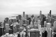 Urban city architecture background.Chicago skyline aerial view.An overhead view of the city of Chicago downtown taken from the John Hancock Center skyscraper.Horizontal composition in black and white.