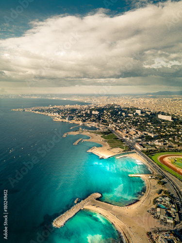Poster Marseille Coastline Aerial View - Contrast Of The Stormy day