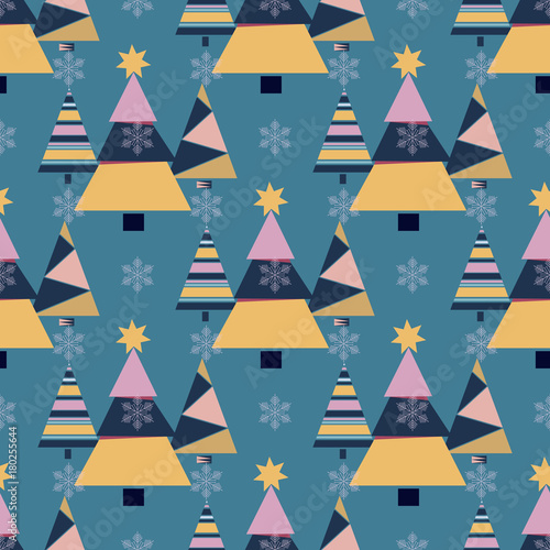 Cotton fabric Snowflake winter christmas tree holiday fir-tree design season december snow star celebration ornament vector illustration seamless pattern background.