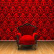 3d interior rendering of red armchair and red decorated wallpaper background - 180257045