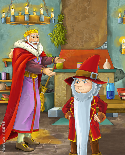 cartoon scene with happy king standing the kitchen and talking with a dwarf illustration for children - 180257881