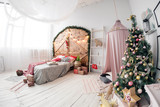 Space in the Photo studio with daylight. Christmas decorations. - 180258008