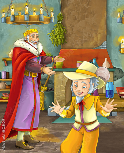 cartoon scene with happy king standing the kitchen and talking with a dwarf illustration for children - 180258069