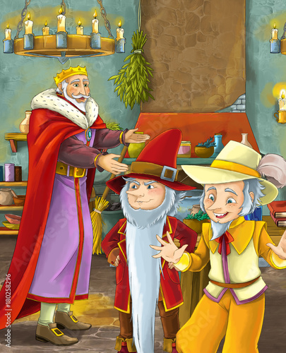 cartoon scene with happy king standing the kitchen and talking with a dwarf illustration for