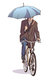 Illustration of man riding bicycle while holding umbrella in winter coat