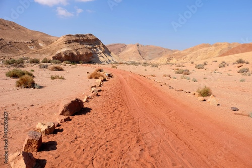 Foto op Canvas Koraal Scenic panorama landscape of Crater Ramon in Negev desert.