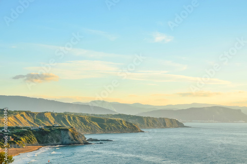 In de dag Pool coastal landscape of Basque Country, Sopelana, Vizcaya, Spain, Europe
