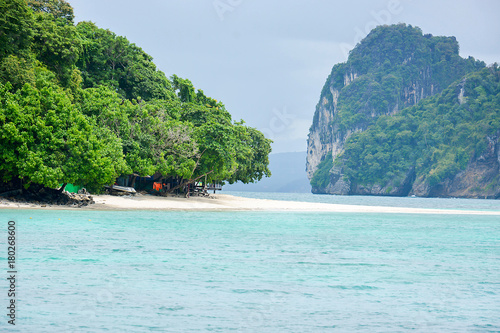 Fotobehang Tropical strand Wave of the sea on the sand beach, Beach and tropical sea, Paradise idyllic beach Krabi, Thailand, Summer holidays, Ocean in the evening as nature travel background.