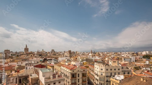 Valencia skyline Panoramic aerial view old town, time lapse, Spain, Micalet, the belfry of the Cathedral
