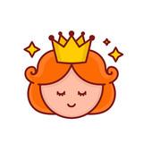Cute funny smiling girl princess face.Vector