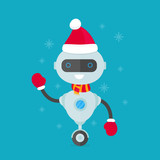 Happy Smiling Robot Chat Bot In Christmas  Wall Sticker