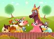 Funny farm animals smiling near the fence - 180285410