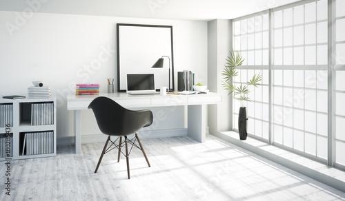 Schreibtisch mit Laptop am Fenster im Appartment