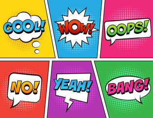 Retro comic speech bubbles set on colorful background. Expression text COOL, NO, WOW, YEAH, OOPS, BANG. Vector illustration, vintage design, pop art style.