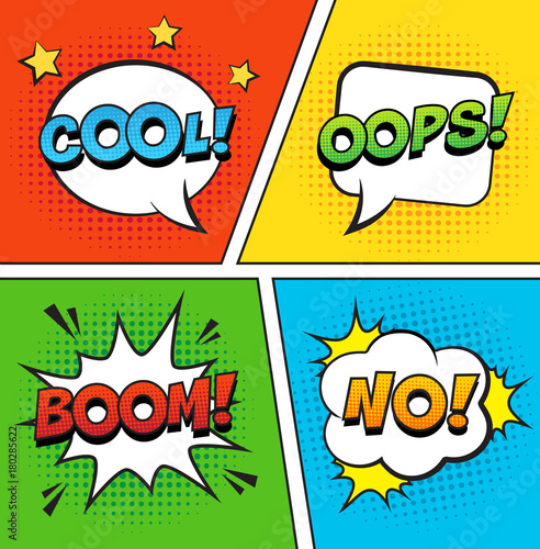 Fotobehang Pop Art Retro comic speech bubbles set on colorful background. Expression text OOPS, COOL, NO, BOOM. Vector illustration, vintage comic book design, pop art comic bubbles style.