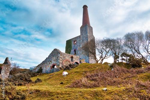 Old Ruined Tin Mine, old ruined granite buildings set on Dartmoor.. Dartmoor National Park