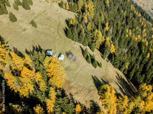 Foto op Canvas Honing Aerial view of cottage in Swiss mountains in fall season