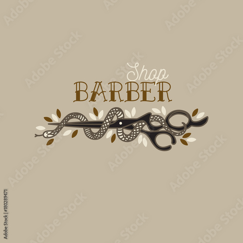 Logo for barbershop, hairdresser, beauty salon. Scissors with a snake. Vector illustration colorful