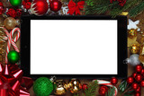 Blank tablet surrounded with Christmas decorations - 180293222