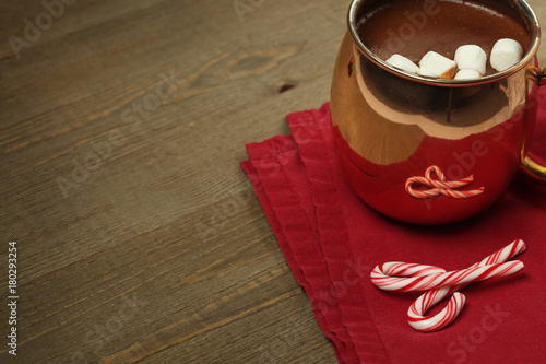 Foto op Canvas Chocolade Hot chocolate with marshmallows and candy canes