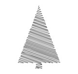 christmas tree scribble vector isolated on white background