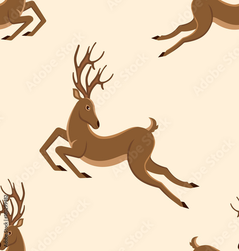 Aluminium Hipster Hert Seamless Pattern with Jumping Deers, Retro Texture with Moving Stags