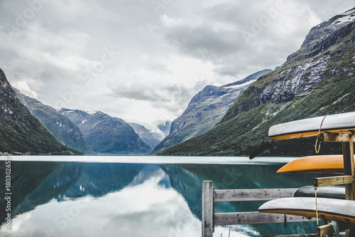 Foto op Canvas Groen blauw Lovatnet lake near Geiranger Fjord in Norway