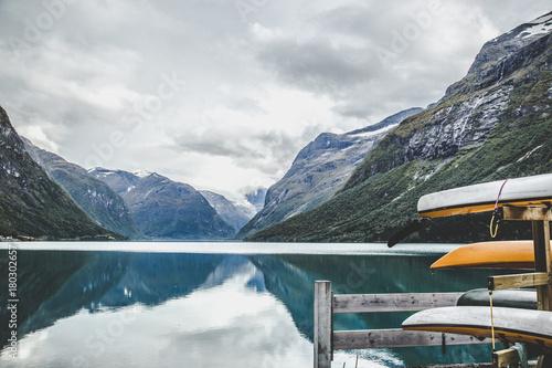 Plexiglas Groen blauw Lovatnet lake near Geiranger Fjord in Norway